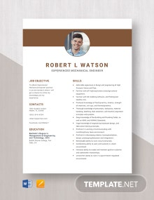 Experienced Mechanical Engineer Resume Template