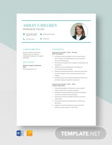 Experienced Teacher Resume Template