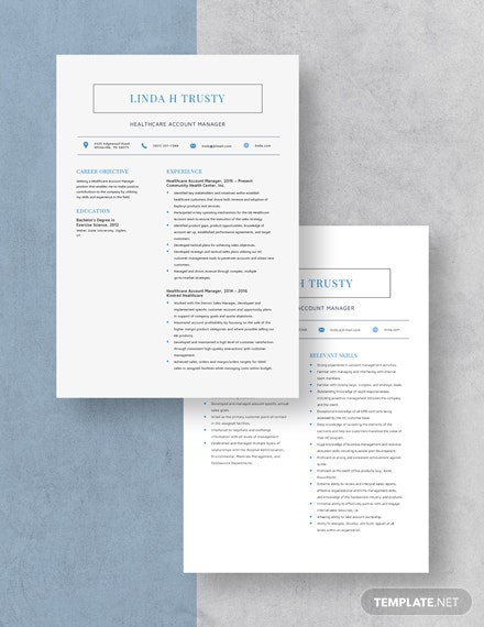 Healthcare Account Manager Resume Download