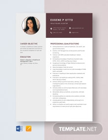 Healthcare Auditor Resume Template