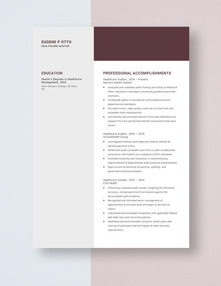 Healthcare Auditor Resume Template