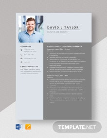 Healthcare Analyst Resume Template