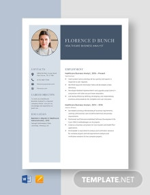Healthcare Business Analyst Resume Template