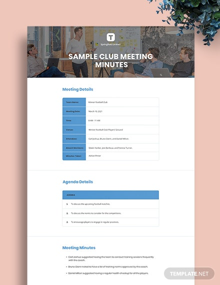 Free Sample Club Meeting Minutes Template