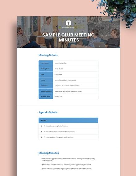 Free Sample Club Meeting Minutes Template