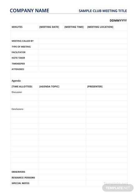 Sample Club Meeting Minutes Template
