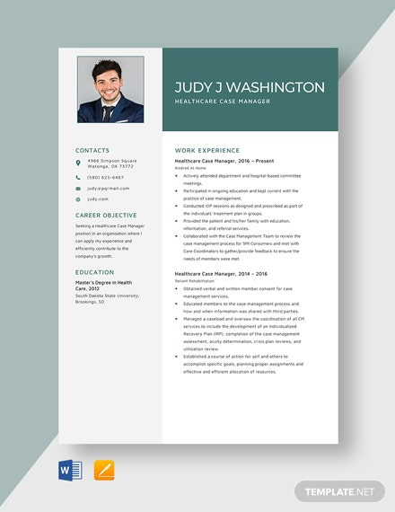 Healthcare Case Manager Resume Template