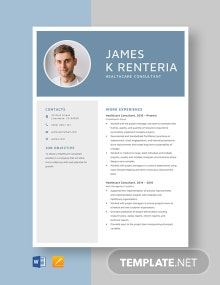 Healthcare Consultant Resume Template