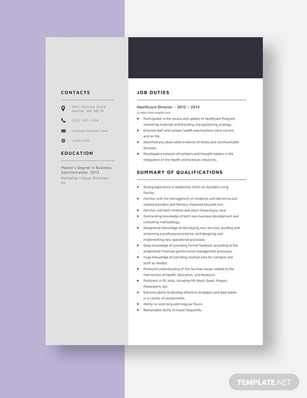 Healthcare Director Resume Template