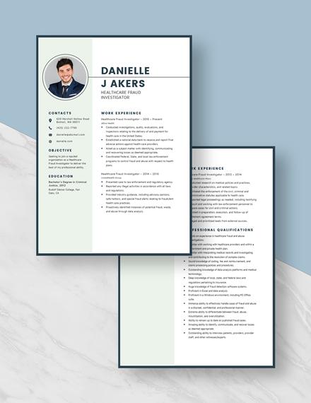 Healthcare Fraud Investigator Resume Download