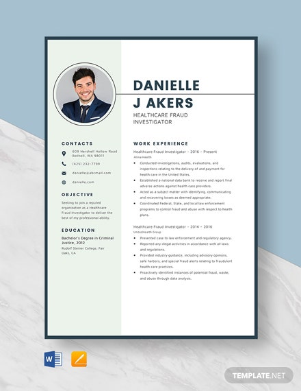 Healthcare Fraud Investigator Resume Template