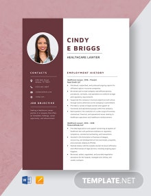 Healthcare Lawyer Resume Template
