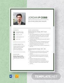 Healthcare Operations Manager Resume Template