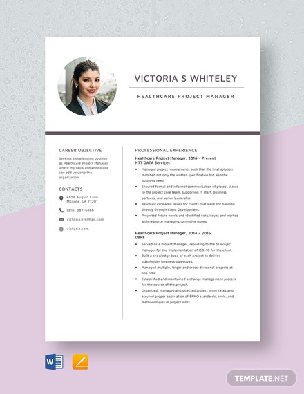 Healthcare Project Manager Resume Template