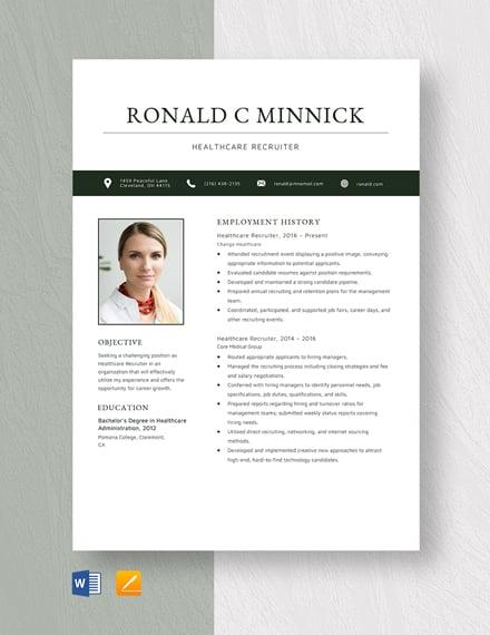 Healthcare Recruiter Resume Template
