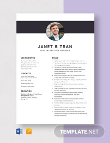 Healthcare Risk Manager Resume Template