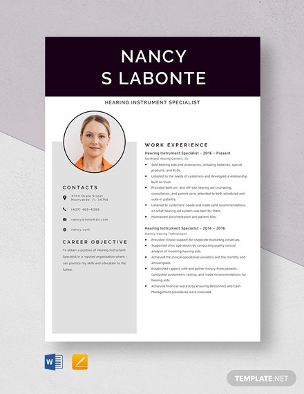 Hearing Instrument Specialist Resume Template