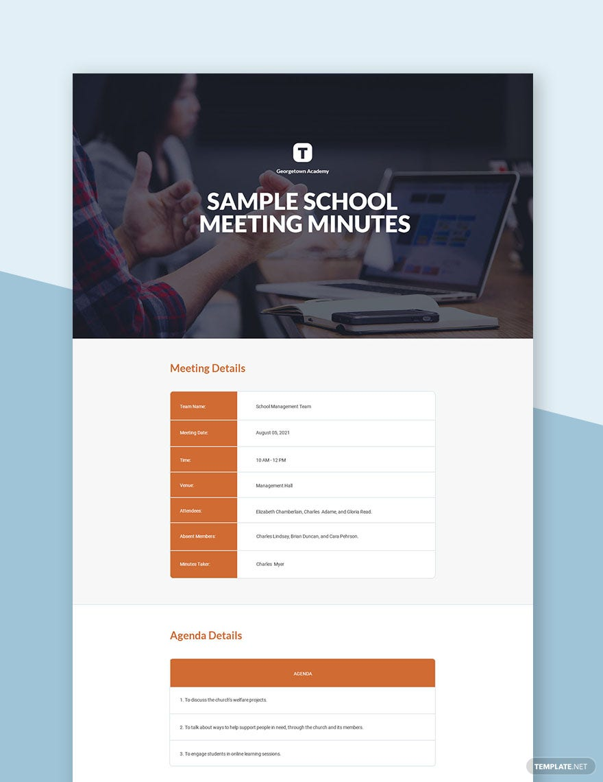 Free Sample School Meeting Minutes Template