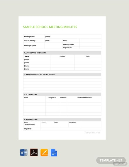 Free Sample School Meeting Minutes Template
