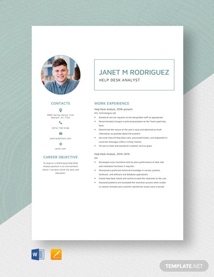 Help Desk Analyst Resume Template