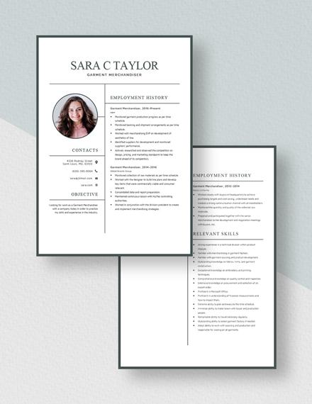 Garment Merchandiser Resume Download