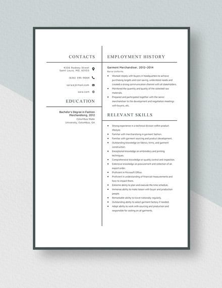 Garment Merchandiser Resume Template