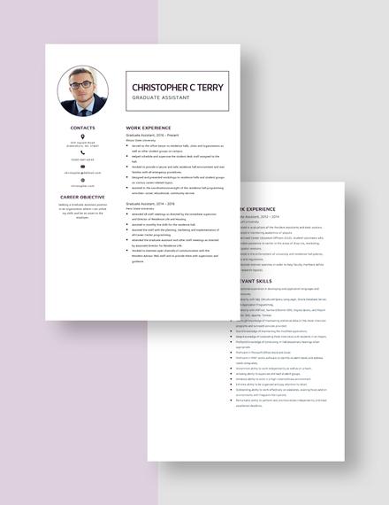 Graduate Assistant Resume Download