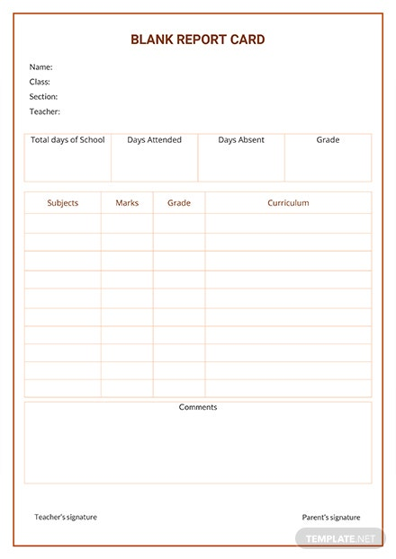 Free Blank Report Card Template