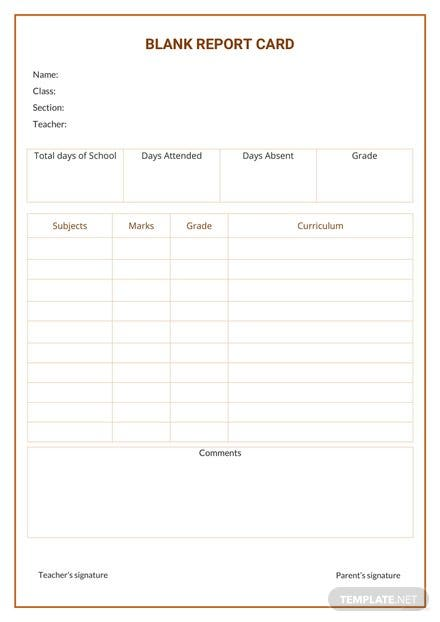 free blank report card template in microsoft word
