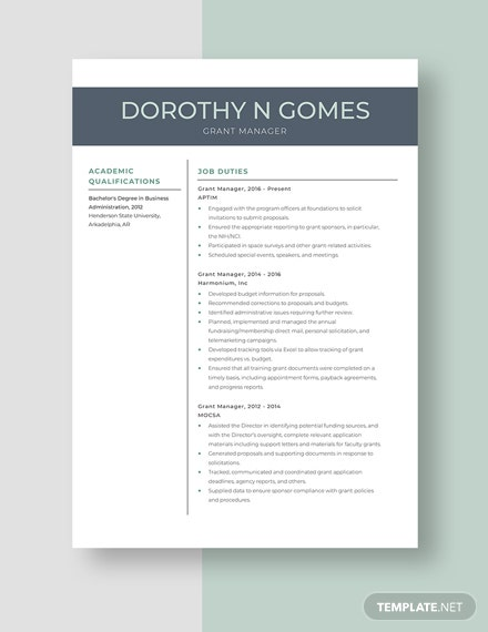 Grant Manager Resume Template