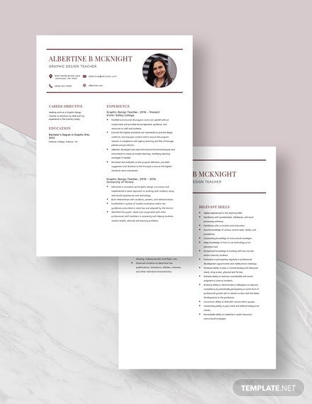 Graphic Design Teacher Resume Download