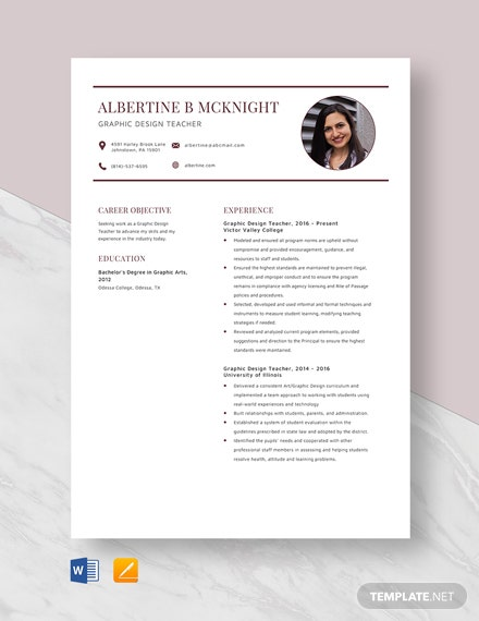 Graphic Design Teacher Resume