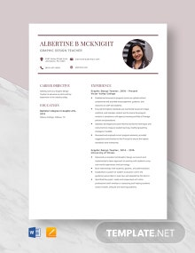 Graphic Design Teacher Resume Template