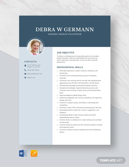 Graphic Design Volunteer Resume Template