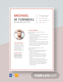 Graphics Production Artist Resume Template