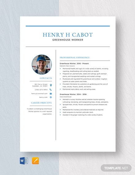 Greenhouse Worker Resume Template