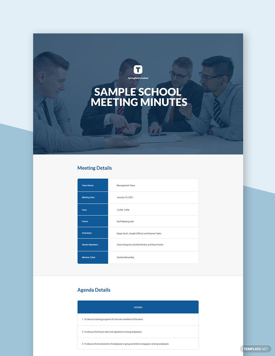 Free Sample Minutes of Meeting Template