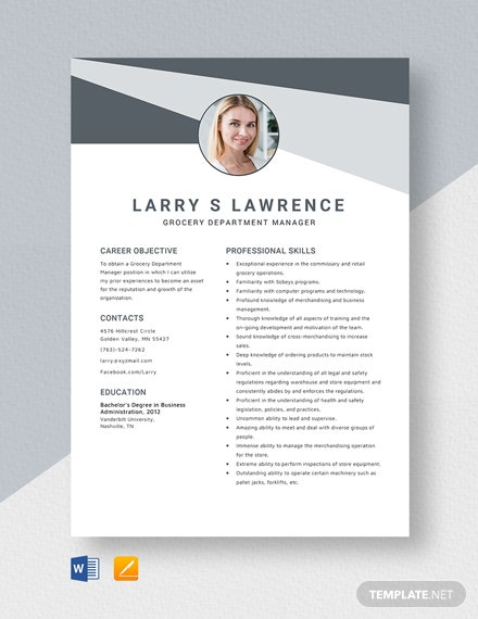 Grocery Department Manager Resume Template