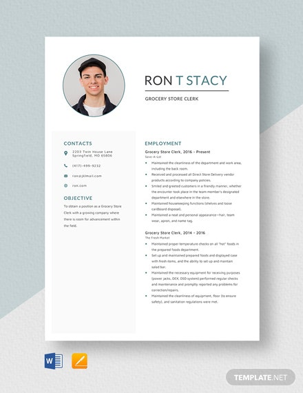Grocery Store Clerk Resume Template