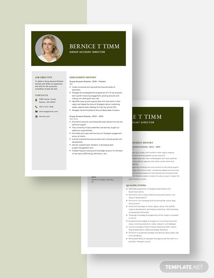 Group Account Director Resume Download