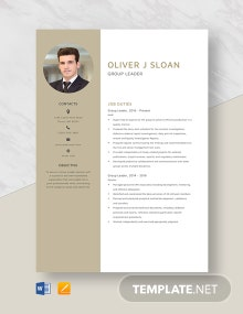 Group Leader Resume Template