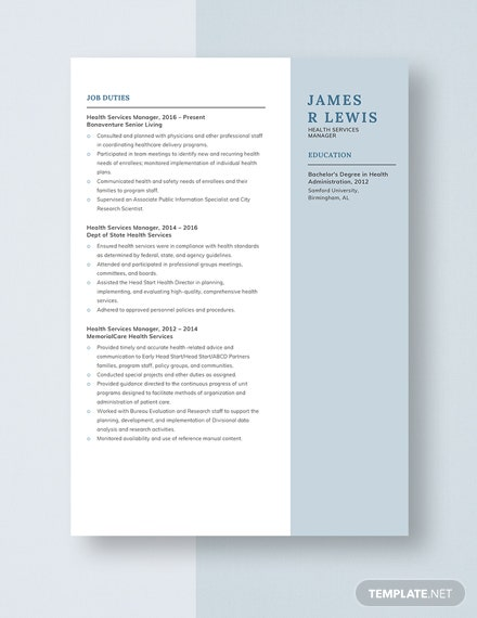 Health Services Manager Resume Template