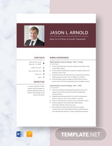 Health Systems Account Manager Resume Template