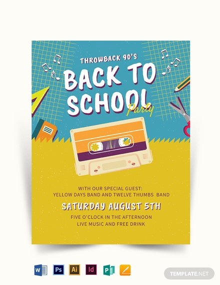 Back To School 90s Flyer Template