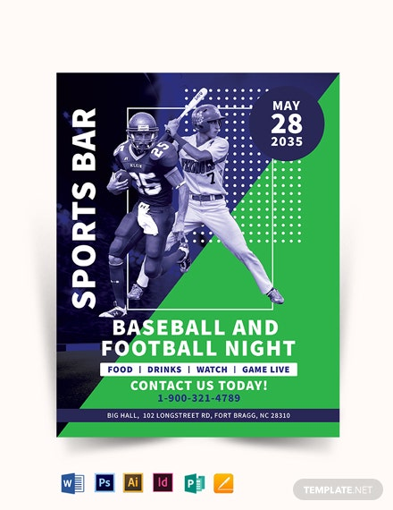Baseball And Football Flyer Template