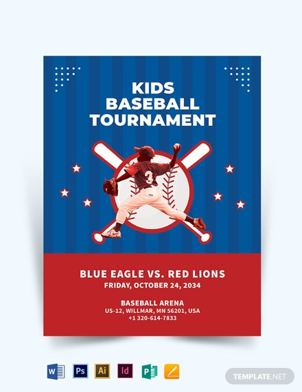 Baseball Stage For Kids Flyer Template
