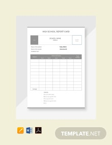 High School Report Card Template