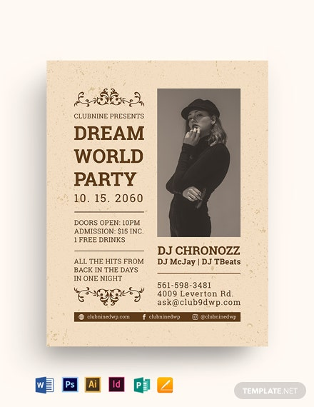 Vintage Night Party Flyer Template