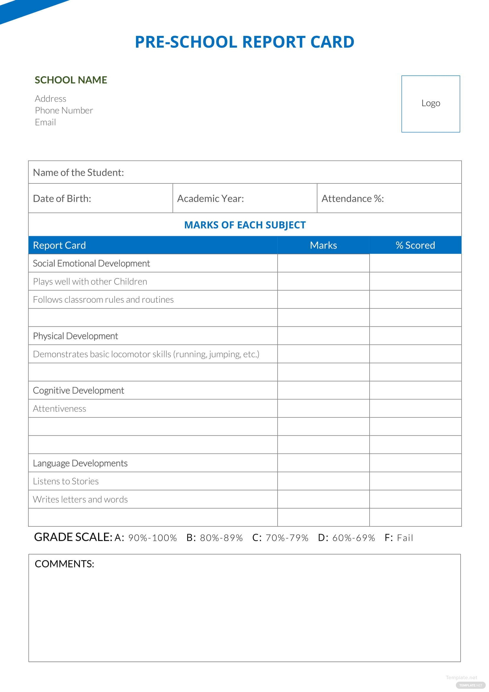 select a template for your school s report card soon school