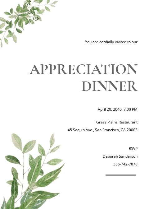 Simple Appreciation Dinner Invitation Template